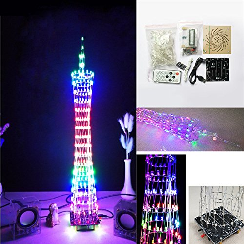 Bluelover Diy Bluetooth Canton Tower Led Licht Würfel Kit Fernbedienung Musik Spectrum Electronic Kit -Farbe