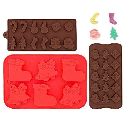 Food Grade Stampo Natale Silicone,Cioccolato, Gelatina, Biscotti e Muffa di Caramella, IHUIXINHE Stampi di Cottura del Torta(set di 3)