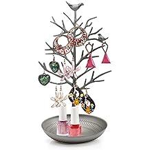 HQdeal -Caja de la joyería Expositor para joyas Organizador de Joyas, diseño de árbol, color plateado