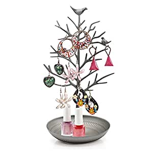 HQdeal New Antique Silver Birds Tree Jewelry Stand Display Earring Necklace Holder Jewellery Stand Rack