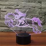 3D Lampe USB Power 7 Farben Erstaunliche Optische Täuschung 3D Wachsen LED Lampe Reiten Kinder Schlafzimmer Nachtlicht