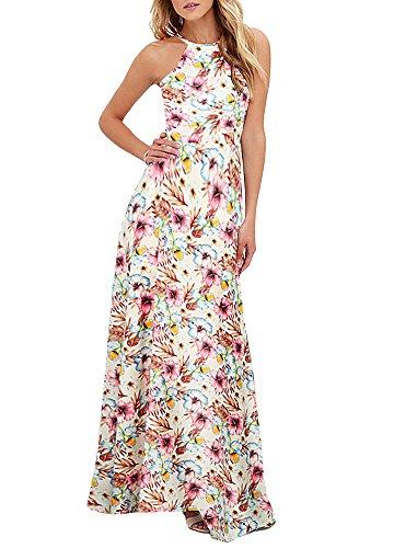 Romacci Damen Maxi Kleid Neckholder Blumendruck Sleeveless Sommer Strandurlaub Kleid (Weiß, M) Neckholder-maxi-kleid