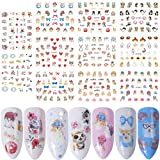 MUANI 11 fogli/set Coniglio Bunny Cat manicure autoadesivo del fumetto animale di DIY Nail Sticker Wrap Decor