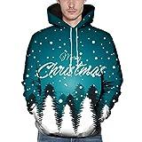 DNOQN Herren Weihnachten Paare Weihnachten 3D Gedruckt Langarm Kapuzenbluse Sweatshirts Dunkelblau XXXL