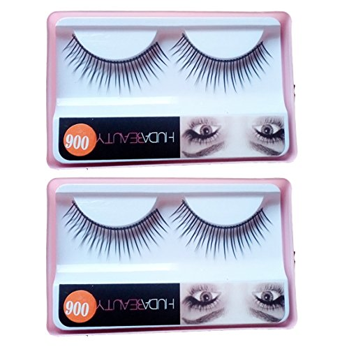 HUDA BEAUTY Imported 2 Pair Black Natural Thick Long False Eyelashes with Adhesive - 006