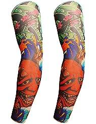 BXT 1 par de brazos de tatuaje temporales con protección UV para deportes de golf,