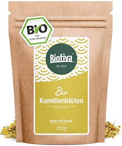 Kamillen-Blüten Tee (Bio, 250g) - Hochwertigste ganze Bio-Kamillenblüten - Bio-Kamillen-Tee - Abgefüllt und kontrolliert in Deutschland (DE-ÖKO-005)