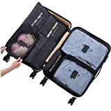 7 Set Sistema di Cubo di Viaggio - 3 Cubi di Imballaggio + 3 Sacchetti Borsa+ 1 Borsa portascarpe - Perfetto di Viaggio Dei Bagagli Organizzatore (2Black)