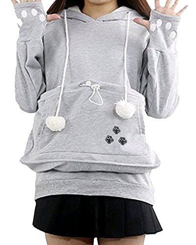 Minetom Damen Frauen Niedliche Kängurus Kapuzenpullover Tasche Hoodie Langarm Pullover Sweatshirt Carrier für Kleine Katze Hunde B Grau DE...