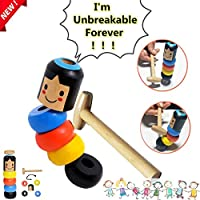 Qinsir Muñeca De Madera,Immortal Daruma Little Wooden Man Magic Toy,2019 Halloween Divertido Juguete Mágico De Madera Irrompible Tradicional Japonés para Tus Hijos