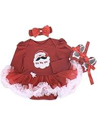 hibote recién nacidos bebé niñas Fiesta de Navidad manga larga del mameluco Romper Tutu vestido de noche + Banda de cabeza + Zapatos 3 pcs, 0-18 Meses
