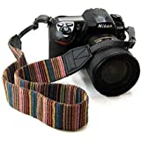 Universal Color Stripes Soft Red Camera Neck Straps Shoulder Strap Belt Grip for DSLR Nikon Canon Panasonic Sony Pentax