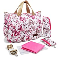 Baby Changing Bag Diaper Tote Bag Shoulder Bag Handbag for Mom - Include Waterproof Nappy Bag with Changing Pad (Pink Flower)