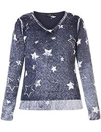 X-Two Long-Pullover Damen mit Sterne Blau V-Ausschnitt große Größen  Baumwolle 848ddc431c