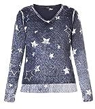 X-Two Long-Pullover Damen mit Sterne Blau V-Ausschnitt große Größen Baumwolle, Größe:46