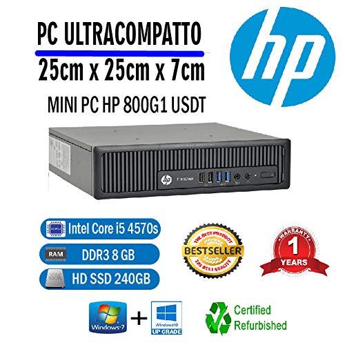 PC RICONDIZIONATO HP 800 G1 USDT INTEL CORE I5 4570S 2,90 GHZ/8GB/240GB SSD/WIN 10 PRO...