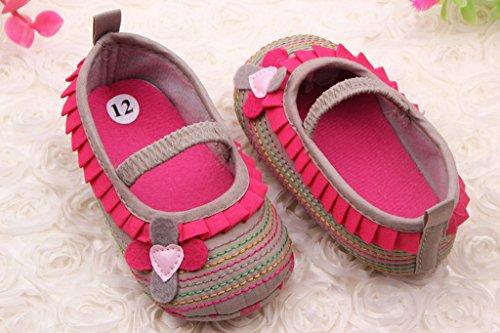 Bigood Chaussure Souple Bébé Fille Chaussures Premier Pas Antidérapant Fleur Brun