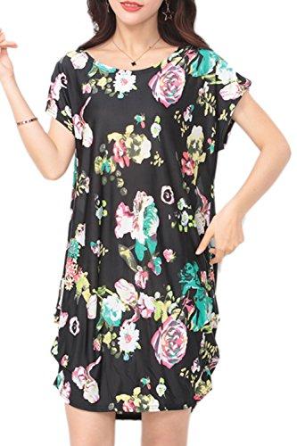 Lose Floral lässige T-Shirt Kleid für Damen 40