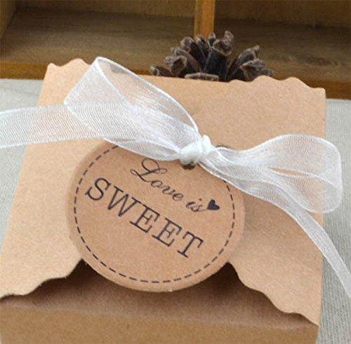 comprare on line Gespout 100 scatole per bomboniere in stile retrò Scatole da regalo di carta kraft con nastro di pizzo Ideali per feste di compleanno anniversario matrimonio e decorazioni Brown Halloween Natale prezzo