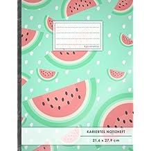 """Kariertes Notizbuch • A4-Format, 100+ Seiten, Soft Cover, Register, Mit Rand, """"Wassermelone"""" • Original #GoodMemos Quad Ruled Notebook • Perfekt als Matheheft, Skizzenbuch, Notizheft, Tagebuch"""