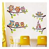 QTZJYLW Cartoon Wandaufkleber Eulen Auf Dem Baum Partten Kinderzimmer Wohnkultur Wandtattoos Wandaufkleber Für Kinderzimmer (72 × 60 cm)