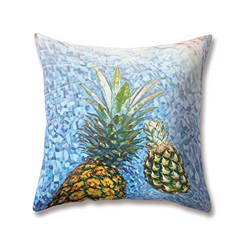 OPoplizg Soft Plush Blue Cushion Covers Sea Marine Ocean Waves Beach Tropical Island Seawater Paintings 45cm x 45cm(18 x 18inch) Throw Soft Plush Pillow Cases for Home Sofa Bed Decorative (Wave New Halloween Bar)