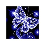 Mengonee Voller Strass Stickerei Blauer Schmetterling Handgemachter Anstrich 5D DIY Kristall-Tier-Kreuz-Stich-Harz-Bild Home Decoration