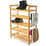 Home Treats Bamboo Shoe Rack. 5 Tier Shoe Storage Organiser With Side Hooks Extra Storage