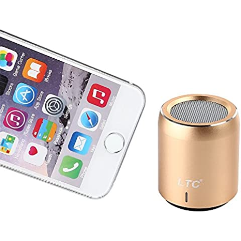 LTC Mini Portátil Wireless Inalámbrico Bluetooth 4.1 Super Bass Estéreo 3.5mm NFC 360° Sound LED CSR-Chip USB WiFi Speaker Altavoz MP3 Player Oro