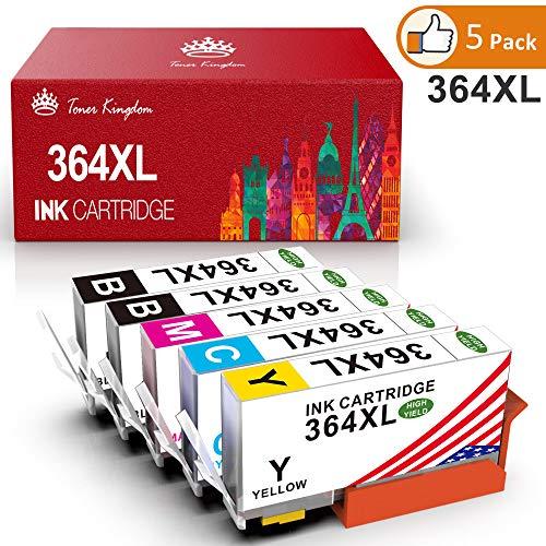 Toner Kingdom Cartucce d'inchiostro compatibili per HP 364XL utilizzato per HP Photosmart 5510 5515 5520 5524 5525 6510 7510 B110c B010a Stampante HP Deskjet 3070A (2 Nero, Ciano, Magenta, Giallo)