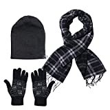 #6: Stylathon Men's Combo Of Winter Woollen Black Cap With Muffler And Gloves(Free size)