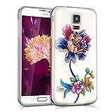 kwmobile Cover per Samsung Galaxy S5 / S5 Neo / S5 LTE+ / S5 Duos - Custodia in silicone TPU - Back case protezione posteriore per cellulare Design peoniamulticolore blu trasparente