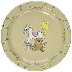 Assiettes en papier vintage avec cheval à bascule et ours en pelluche X 8 - fête prénatale ou première fête d'anniversaire