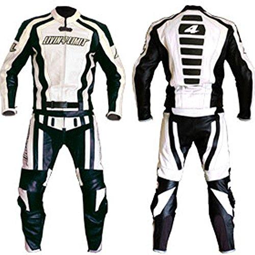 Tuta-pelle-per-dita-giacca-e-pantalone-adatto-per-Honda-Yamaha-Suzuki-e-colore-bianconero