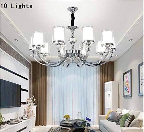 Moderne Kristallleuchter-Licht-Lampen für Wohnzimmer Chrom Metall-LED-Leuchter-Beleuchtung-Anhänger-hängendes Deckenleuchten, 10 Arm Kronleuchter, 220-240, Cold White -