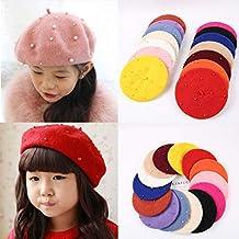 Cuigu Sombreros de Boina para los niñas otoño Invierno cálido Mignon Boina  Cap Faux Perla de f813250843d