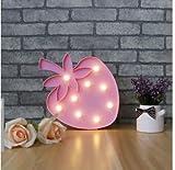 ABCMOS 3D LED Shine Flamingo Lampada Notte Lampada Marquee LED Letter Nightlight per la decorazione domestica Regalo di compleanno per bambini (fragole)