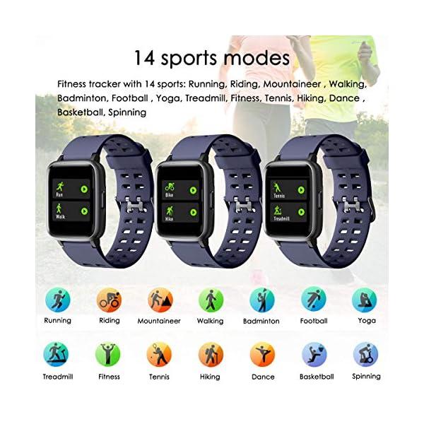 LATEC Pulsera Actividad Reloj Inteligente Impermeable IP68 Smartwatch Pantalla Táctil Completa con Pulsómetro Cronómetro Pulsera Deporte para Hombres Mujeres Niños con iOS y Android 3