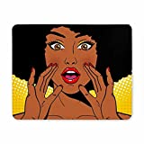 Gaming mouse pad, einzigartige, individuelle großen Gaming mouse pad ihre Hand auf Frauen in Afrika Waren der farbe retro - Stil namens Scream Comic party - einladungen - Maus - PADS, rutschfesten Gummi