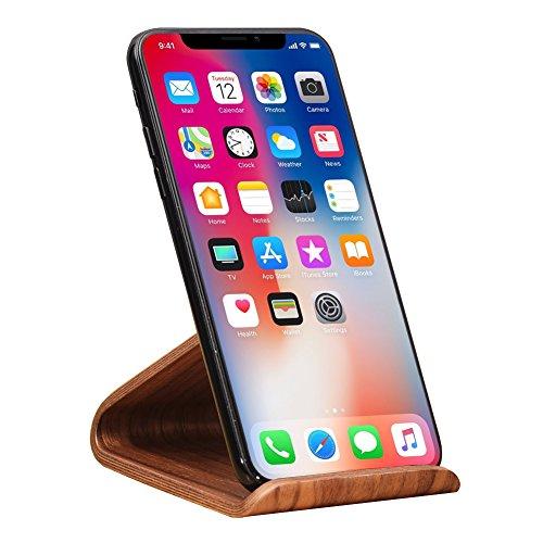 Samdi Holz Handy Ständer Universal Handy Halter Tisch Ständer für Smartphones (Schwarze Walnuss) (Walnuss-finish, Schreibtisch)