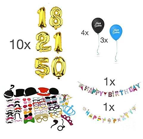 Décoration / décoration mis MEGA fête d'anniversaire - plus de 100 pièces - accessoires photo, masques, confettis, étoiles, ballons noir / bleu, ballon d'anniversaire, ballon géant XXL / numéros, banderoles, chaîne fanions - guirlande