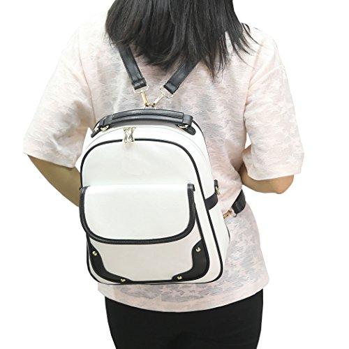 DISSA S805 neuer Stil PU Leder Deman 2018 Mode Rucksackhandtaschen,265×110×325(mm) Weiß