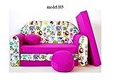 Divano divanetto bambini cuscino e puff mini divano transformabile in lettino.