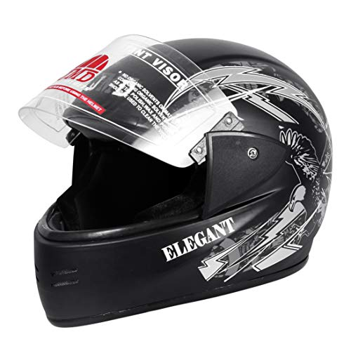 JMD HELMETS Elegant Full Face Helmet Matt Finish (Black-Grey, Large)