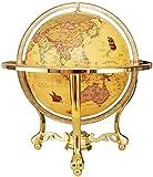LSHUNYDE Mappamondo da mondo illuminato globo girevole educativo artigianale con base in metallo Mappa del mondo dettagliata, regalo educativo, decorazioni per comodini,Giallo,Taglia unica