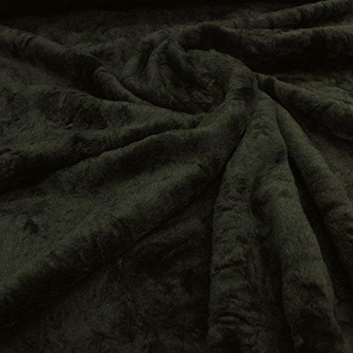 kawenSTOFFE Kuscheliges Plüschfellimitat Pferdefelloptik Dunkelgrün Kurzhaarfell Kurzflor Florhöhe ca.6 mm Plüsch Kunstpelz kuschelig dehnbar glänzend Kunstfell