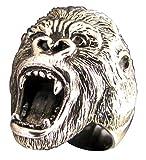 Bague Gorille King Kong en Bronze - Tête de Singe Primate - Animaux de la jungle