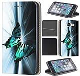 Samsung Galaxy S5 / S5 Neo Hülle von CoverHeld Premium Flipcover Schutzhülle Flip Case Motiv (1131 Schmetterling Schwarz Türkis Weiß)
