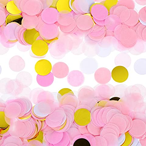 eBoot 1 Inch Round Tissue Paper Confetti Circle Dot Confetti for Birthday Party Wedding Decoration, 6000 Pieces