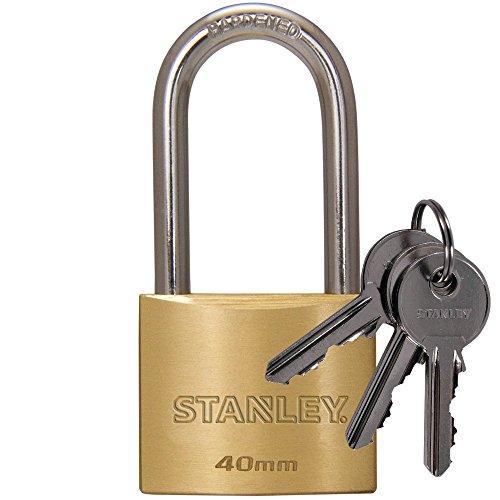 Stanley S742-043 - Candado de latón macizo con arco alargado, 3 llaves (40 mm)